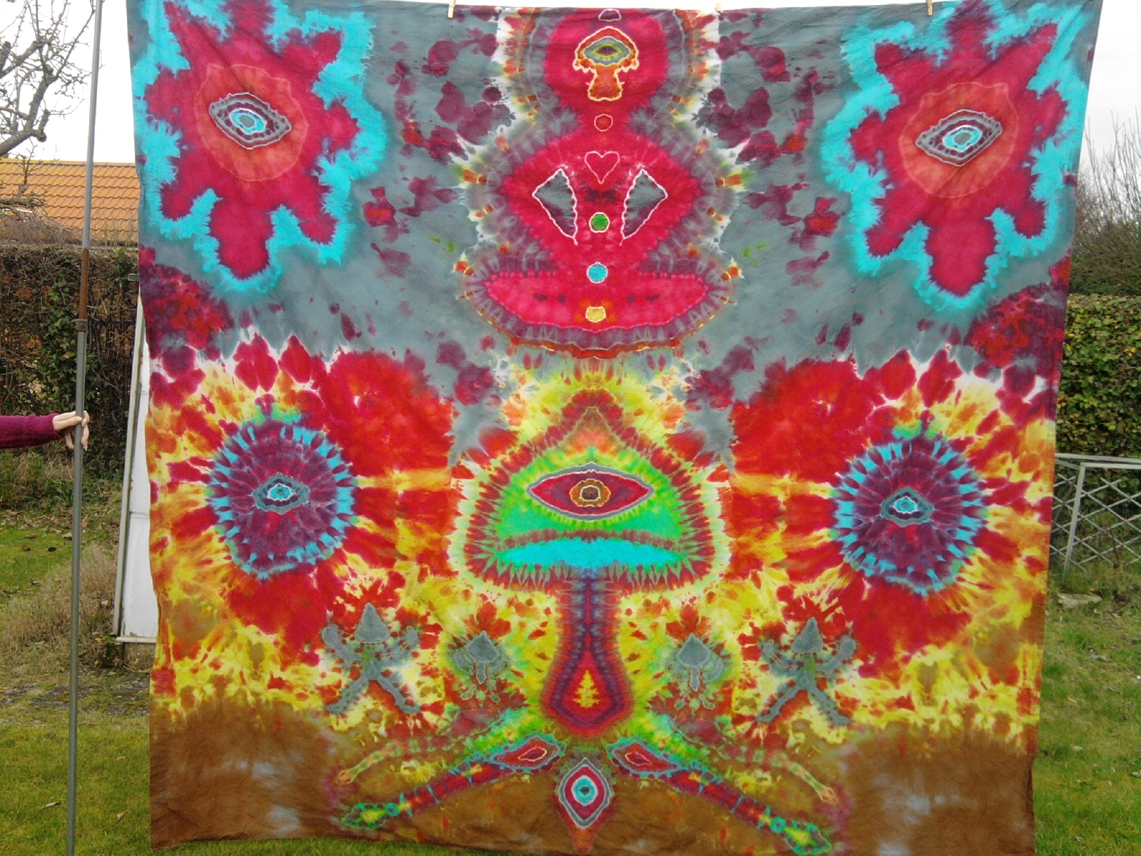 'Teonanacatl' tie dyed tapestry art