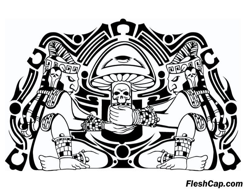 Sacred FleshCap mushroom art by Eddie D