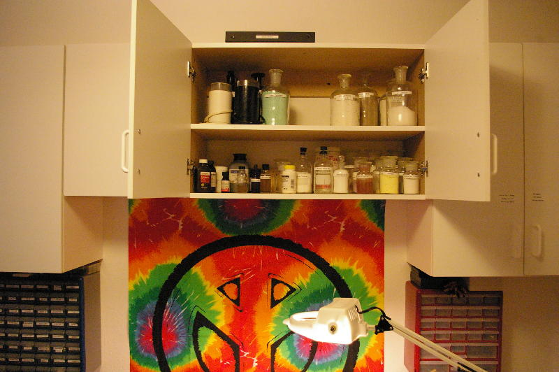 The Far Left Cabinet Is Used To Slide Bo Cleaning Supplies Agar Mushroom Print Bagy Bong