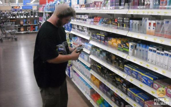 Guy buying condoms