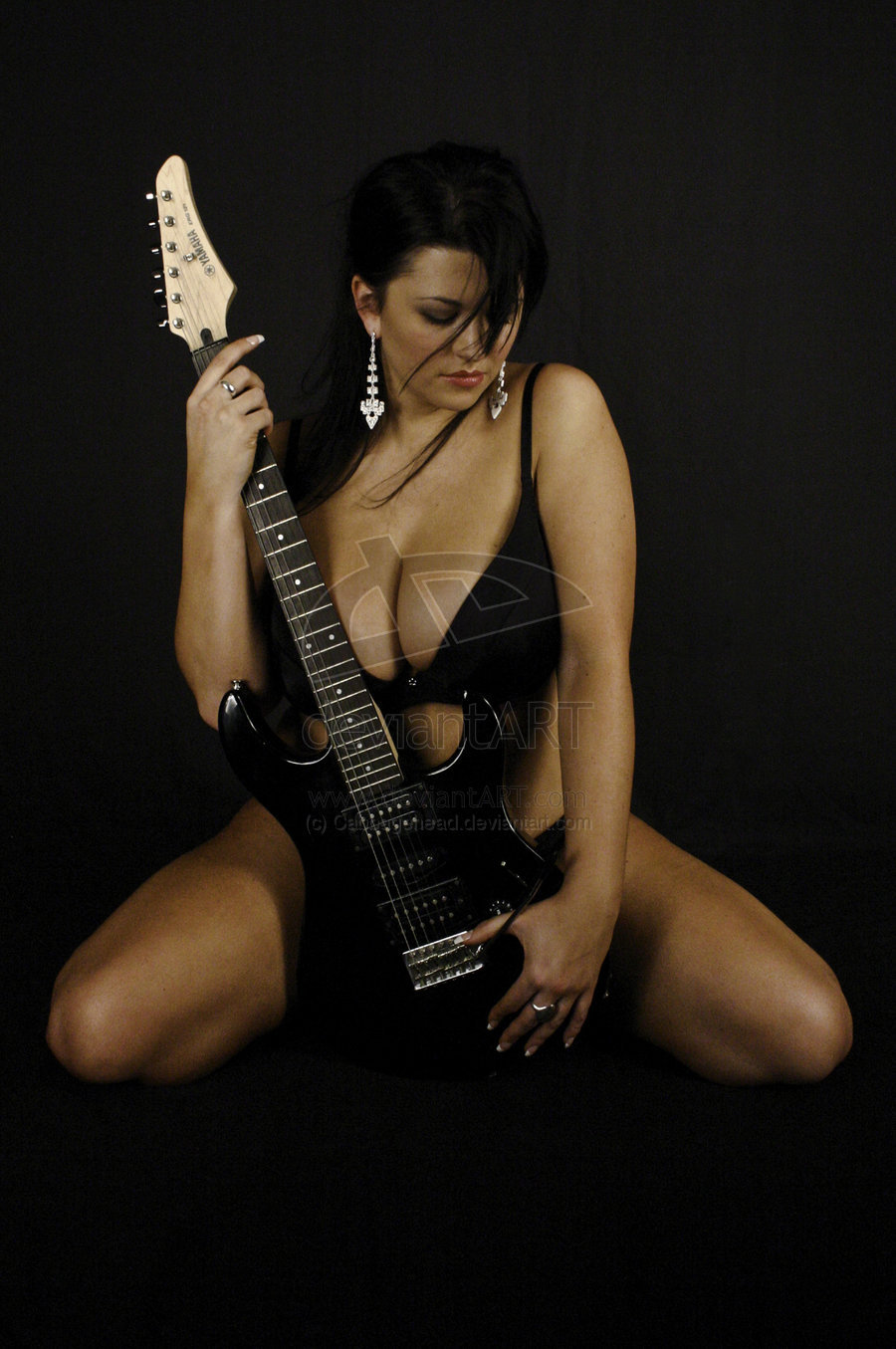Sexy Real Musician Babe Plays Guitar