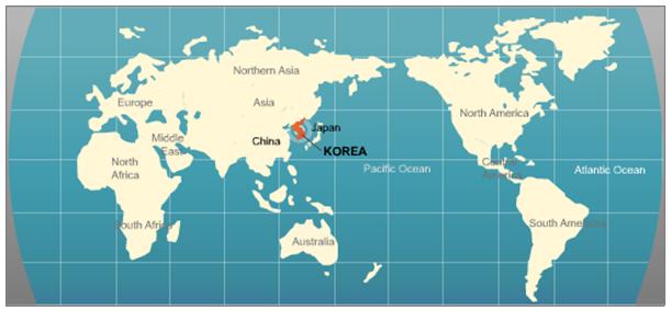 Карта мира где находиться корея
